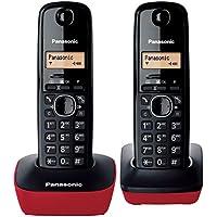 Panasonic KX-TG1612 - Teléfono fijo inalámbrico Dúo (LCD, identificador de llamadas, Intercomunicación, tecla de navegación, alarma, reloj), color Rojo
