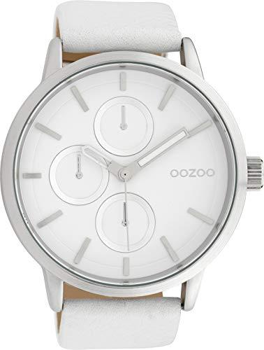 Oozoo Herrenuhr mit Lederband 49 MM Weiss/Weiss C10052