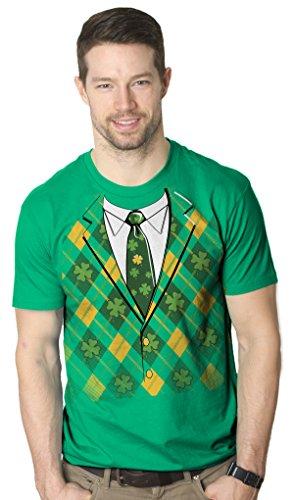 Crazy Dog Tshirts Plaid Green Tuxedo T Shirt Funny Saint Patricks Day Tee (green) XL - herren - XL (Tag Pattys Tee)