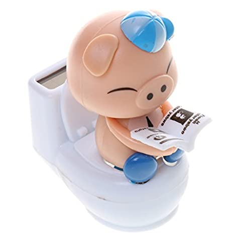 MagiDeal Cute Solar Powered Bobble Head Pig Sitting On Toilet Home Car Ornament Kids Toy Blue