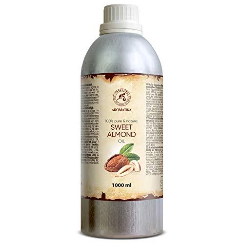 Mandelöl Raffiniert 1000ml - 1Litre Reines und Natives Mandel Öl - Prunus Amygdalus Dulcis Oil - Italien - Intensive Pflege Für Gesicht - Körper - Haare - für Massage
