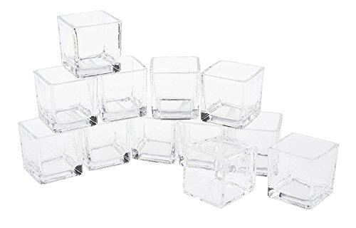 """Preisvergleich Produktbild 12er-Pack Teelicht-Gläser Teelichthalter """"Cube"""" 6x5,5x5,5cm Teelichte klar Glas Würfel eckig Vasen Dippschalen Votives VBS Großhandelspackung"""