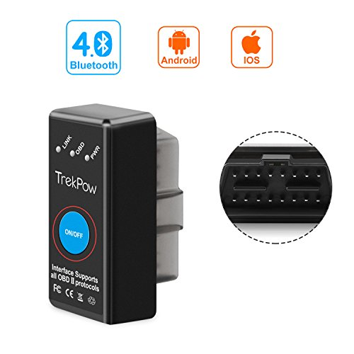 Globmall Bluetooth 4.0 OBD2 Scanner, TrekPow Android, IOS und Windows Dedicated OBDII Auto-Diagnose-Scan-Tool mit Schalter Auto Sleep und Free Professional - Windows Scanner