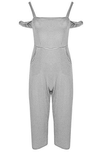 Be Jealous Damen Frauen Kalt geschnitten Schulter Bardot Culotte Alles in einem Gingham Geprüft Spielanzug Overall Schwarz