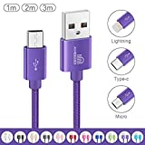 Ameego [3Pack 1m+2m+3m High Speed Strong Nylon Braided Tangle-Free 3.1A Micro USB Data Charge Cable for Samsung, HTC, Nokia, Sony, Kindle,Speaker, Power bank and More Micro USB Devices (Purple)