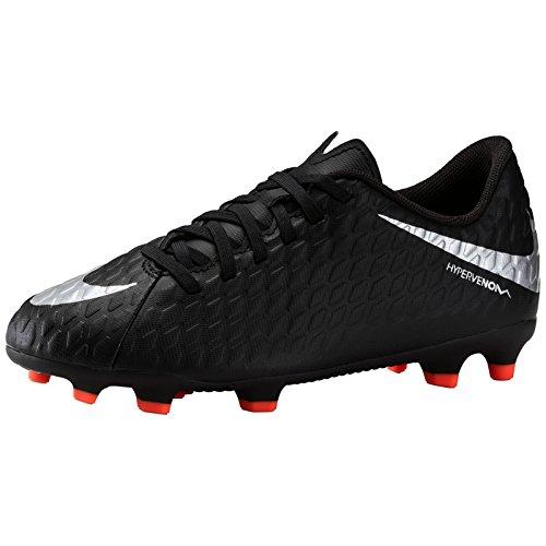 Nike Unisex-Kinder Jr Hypervenom Phade III FG Fußballschuhe, Mehrfarbig (Black/Metallic Silver 001), 33 EU (Fußball Schuhe Jungen Nike)