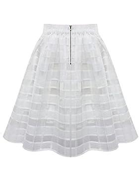 Faldas, Challeng Faldas de organza de las mujeres falda de tul de alta cintura de las señoras de la cremallera...