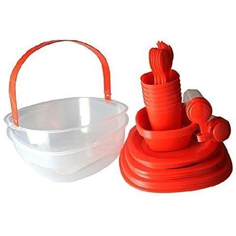 GMMH couleur rouge pique-nique - 48 pièces de vaisselle de camping picnics4fun kit panier pour 6 personnes 48