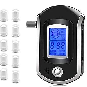 Alkohol Tester, Alkoholtest Digital Breath Analyzer mit 100Mundstücke, Digitale Anzeige Alkohol Tester, Hintergrund Licht ideal für Nacht Lesen