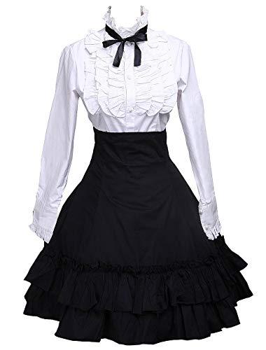 Puppe Kostüm Frauen - Antaina Schwarz Baumwolle Falten Knielang Elegant Lolita Rock und viktorianisch Fliege Bluse,XL