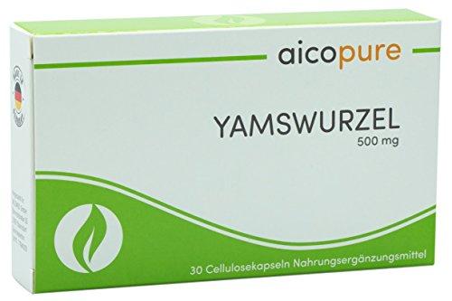 YAMSWURZEL 500 mg • 20% reines Diosgenin • vegan • Kapseln • wild yam • Yamswurzel-Extrakt • hochdosiert • Made in Germany (30 Kapseln)