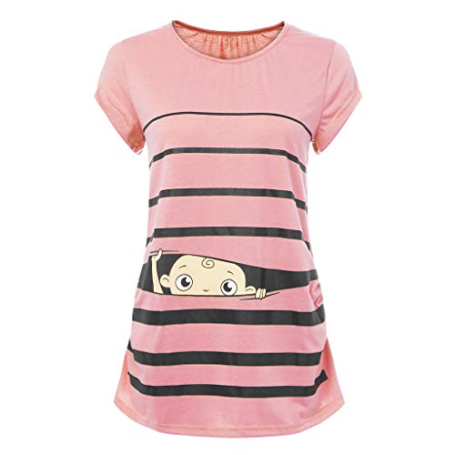 Damen Bequem Umstands Tops, LeeMon Mutterschaft niedliche lustige Baby Print gestreiften Kurzarm T-Shirt Schwangere Tops - Lustig Mutterschaft T-shirts