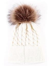 kingko® Mignon Enfants d'hiver bébé Chapeaux Laine tricotée Hemming chapeau