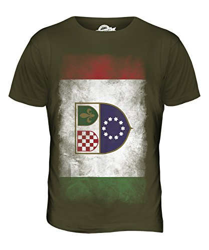 CandyMix Föderation Bosnien Und Herzegowina Verblichen Flagge Herren T Shirt Khaki Grün