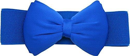 Meta-U® Frauen elastischen breiten Stretch-Bund Buckle Gürtel (blue - Satin Blue Frauen Kleider Für