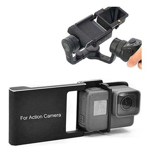Kingwon Adattatore Action Camera compatibile con GoPro Hero 6/5/4/3 + per DJI OSMO Mobile 2 / Zhiyun Smooth 4, lega di alluminio
