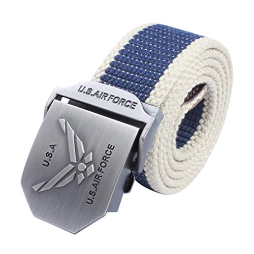 LKMY Herren Tactical Nylon Canvas Baumwolle Gürtel US Army Air Force Gürtel Metall Schnalle Verstellbar für Jeans, Chinos, Wochentag, Blau -