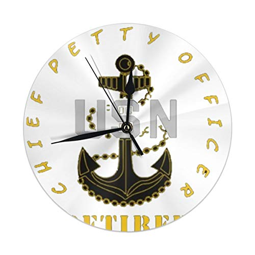 best gift Wall Clock,US Navy CPO Chief Petty Silent Non Ticking 9.84 Inch Battery Operated Round Easy to Read Home,Office,School Clock (Chief Us-navy)