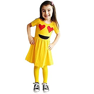 WSSB Baby Girls Dress Emoji Emoticon Smiley Sun Dresses Outfits (5Year, Yellow)
