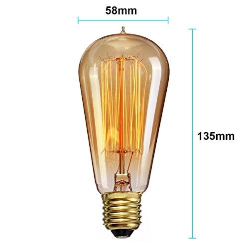 lbbdb Vintage Edison Glühbirne dimmbar ausgesetzt Filament Glühlampen ST58Tropfenform Eichhörnchen Käfig Stil E27220V 4w (4 Käfig Light-anhänger)