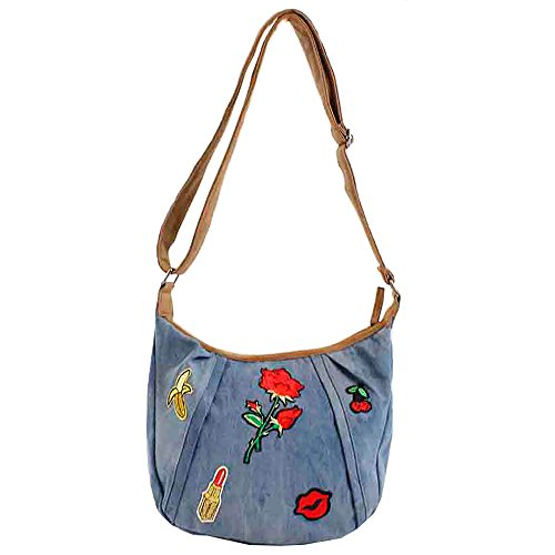 Bluebags Bandolera Vaquera con Emojis, Bolso Mujer, Jeans, Unica