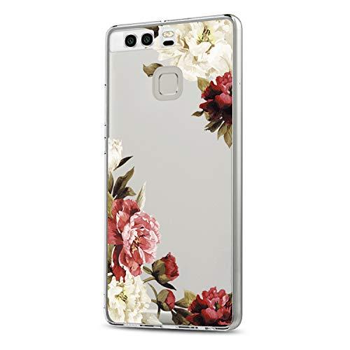 Riyeri Huawei P9 Hülle, Clear Ultra Dünn TPU Silikon Muster Kratzfeste Stoßdämpfend Bumper für Huawei P9 - Rose Flower & Green Leaves (Huawei P9, 45) -