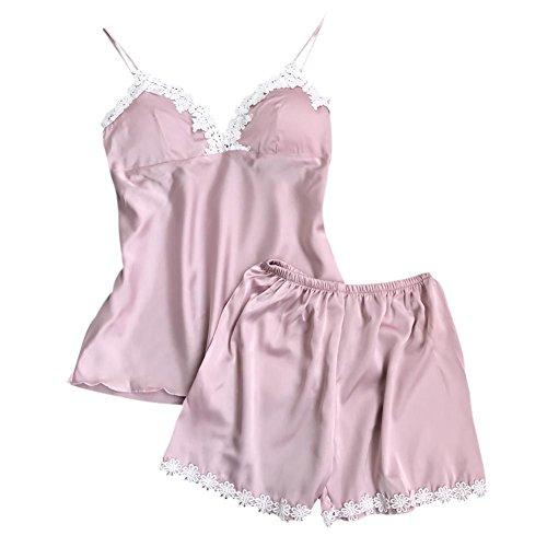 Yalatan Womens Lace V-Neck Sleepwear Spaghetti Strap With Pad Pajama Sets Pink