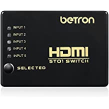 Betron HDMI, con Switch a 5 porte, connettori placcati in oro, 3D, HDMI, v1,4, per (Powered Hdmi Switch)
