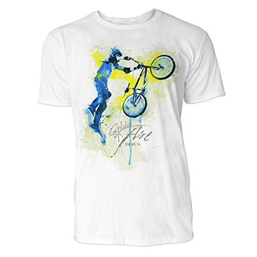 BMX Rad Tailwhip Sinus Art Herren T Shirt (Weiss) Crewneck Tee with Frontartwork