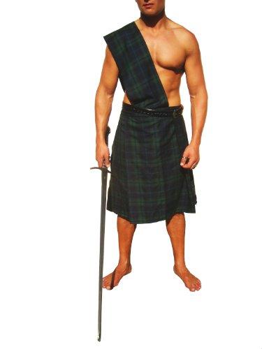 Kostüme Schotte Erwachsenen (Kilt dunkelgrün kariert Gr.L NEU Schottenrock)