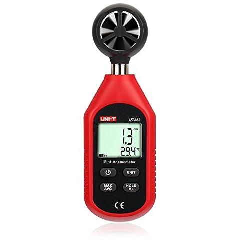 UT363 Mini Digital Anemometer Windmesser Thermometer von LEANINGTECH Windgeschwindigkeitsmesser Luft Temperatur Messgerät Wind-gauge, Max/Avg für Wetter Datei Abtasten Windsurfen Surfen Segeln Angeln