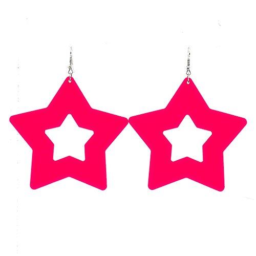 Mode Schmuck Mädchen Damen Boho Lange Acryl Neon Pink Sterne Frauen Ohrstecker Baumeln Ohrringe