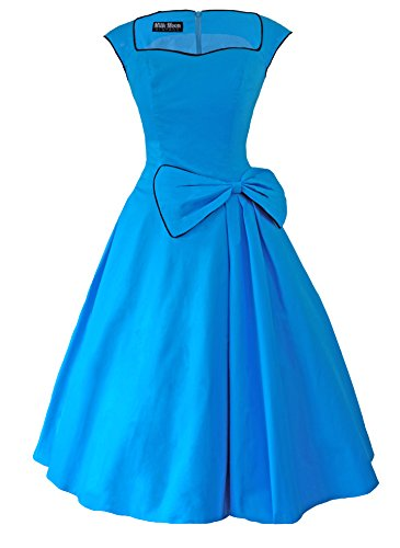 1950s Retro Vintage-Stil, Kleid Blau - Himmelblau