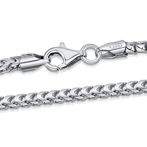 Amberta 925 Plata De Ley Esterlina Collar Para Hombre - Cadena De Franco (Espiga) 2.5 mm - Longitud: 45 50 55 60 70 (cm)