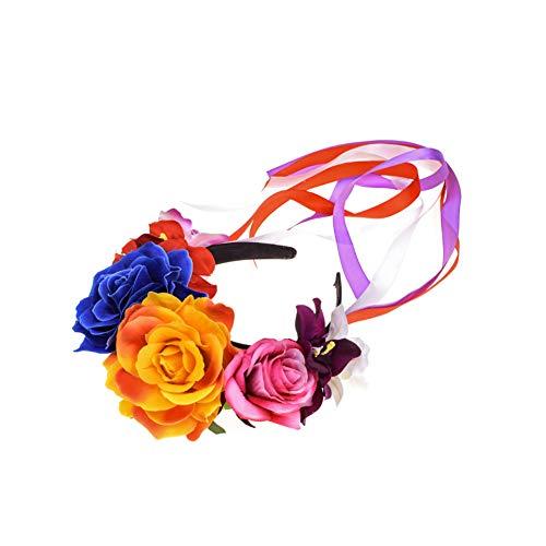 Winslet Blumen Stirnband Hochzeit Haarkranz Krone - Frauen Mädchen Blumenkranz Haare für Hochzeit Party (Blau) (Blumen-stirnband Crown)