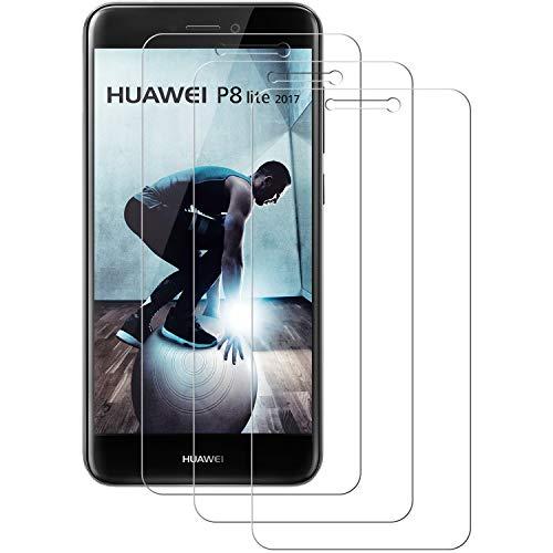 Cristal Templado Huawei P8 lite 2017, POOPHUNS [3-Unidades] Protector de Pantalla para Huawei P8 lite 2017 [Alta Definicion, 9H Dureza, Resistente a Arañazos] Vidrio Templado Huawei P8 lite 2017