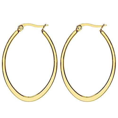 MYA art Damen Creolen Ovale Ringe hängend mit Stecker Edelstahl Gold Gelbgold Vergoldet Große Ohrringe Oval Groß Flach 4cm MYAGOOHR-42 (Gold-flache Creolen)