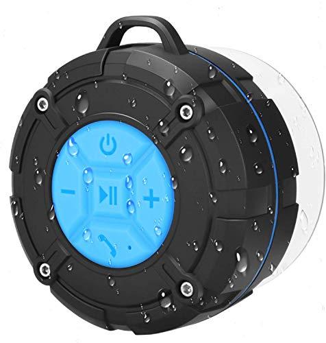 PEYOU Bluetooth Dusch Lautsprecher, Mini-Bluetooth-Lautsprecher im Saugnapf-Design, IPX7 wasserdicht, kabellos Bluetooth 4.2, geeignet für Familienreisen und Strandduschen