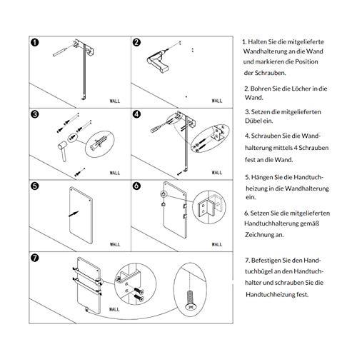 44x86cm Bad-heizkörper mit Handtuchhalter Edelstahl Heizung Handtuch-trockner Bild 6*