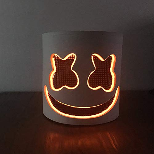 (Beiguoxia Gleicher Artikel Douyin Cool Marshmello DJ EL Light Full Head Maske Helm Halloween Party Cosplay Requisite Orange Light)