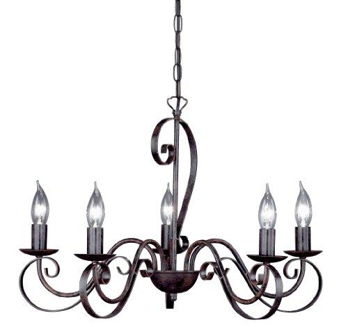 Honsel Leuchten Kronleuchter, Metall, E14, braun
