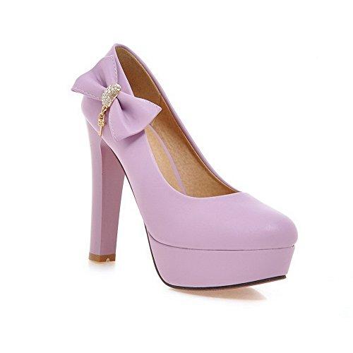 BalaMasa da donna, punta tonda, Olid Pull-On-Face pompe Hi-Shoes Purple