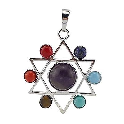 Contever 7 Chakra Edelstein Anhänger Reiki Heilung Ausgleich Legierung einfügen Natürliche Kristall Steine Schmuck -- Hexagramm Stil