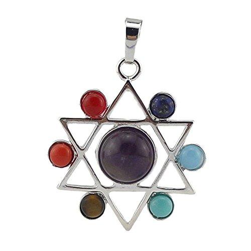 Contever 7 Chakra Edelstein Anhänger Reiki Heilung Ausgleich Legierung einfügen Natürliche Kristall Steine Schmuck -- Hexagramm Stil (Herz Seele Red-t-shirt)