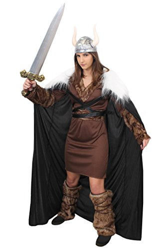 ILOVEFANCYDRESS Wikinger Krieger Prinzessin KOSTÜM VERKLEIDUNG Ragnar=Tunika+GÜRTEL+ARM+Bein Fellimitat Stulpen+UMHANG+Schwert+SILBERNER Helm=Game Off Thrones Fasching Karneval=XXLarge