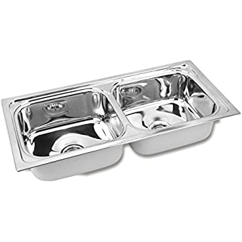 Gargson Stainless Steel Double Bowl Kitchen Sink (45 X 20 X 9 Inches, Silver)