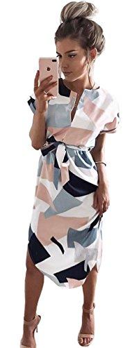 Longwu sexy d'été décontractée V-cou n'est pas des Jupes motifs géométriques irréguliers Robe Blanc-L