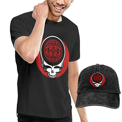 BAQQC Herren Kurzarmshirt Men's Gov't Mule 6 Tshirt and Washed Denim Baseball Dad Hats Black - Alle Schwarzen 49ers Hut