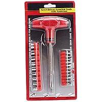 Llave de trinquete Juego de destornilladores T de tipo mehrzweck Destornillador Juego de herramientas de reparación de acero de carbono Combinación (24piezas casquillos + puntas incluidas)