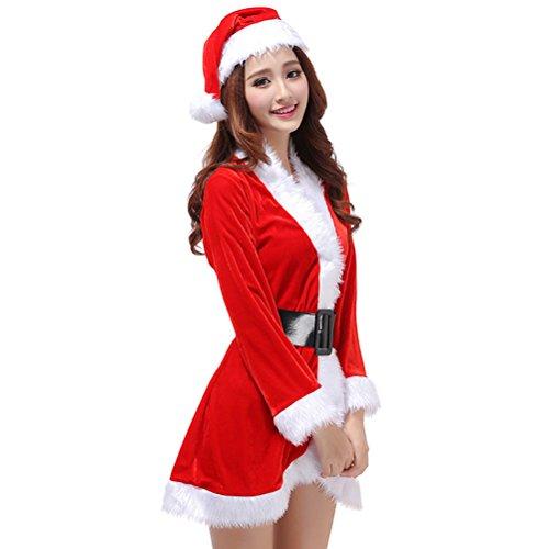 Tinksky 3Pcs Womens Weihnachtsmann-Kostüm-Weihnachtskostüm Cosplay XMAS Outfit-Abendkleid-Satz (freie Größe)